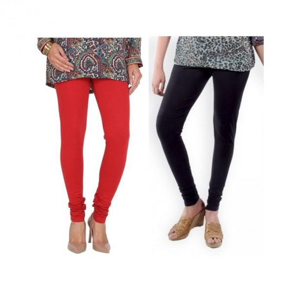 Pack of 02 Plain Tights in red and black colour for women