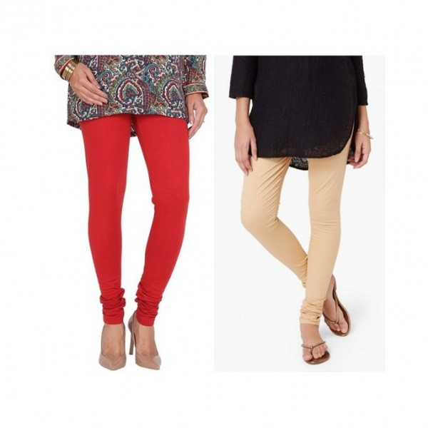 Pack of 02 Plain Tights For Her - red and beige colour