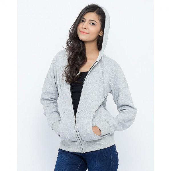 Womens Grey Zipper Hoodie