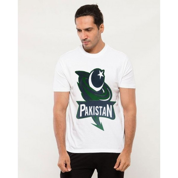 White Pakistan Independence Day Printed T shirt For Him