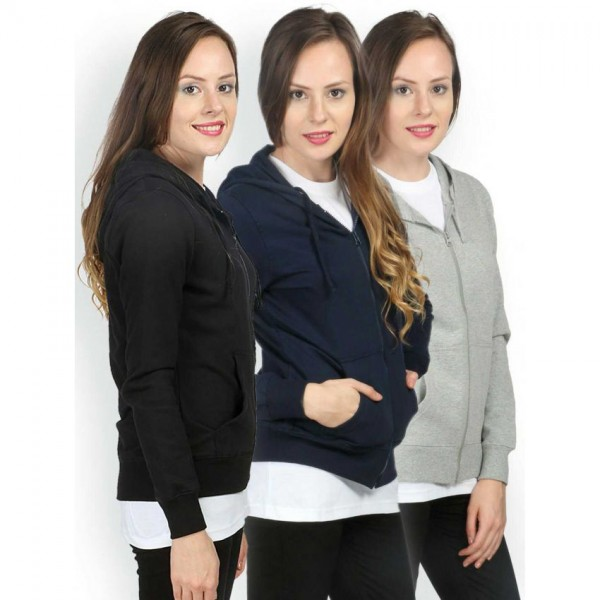 Womens Pack of 03 Zipper Hoodies