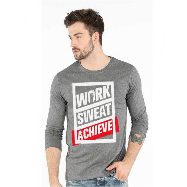 Charcoal Work Sweat Achieve - round neck Graphics T shirt