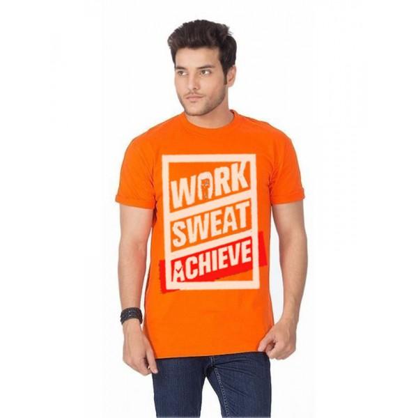 Orange Work Sweat Achieve Graphics T shirt