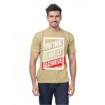 Beige Colour Work Sweat Achieve Graphics T shirt