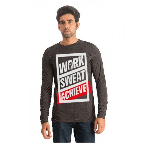 Charcoal Full Sleeves Work Sweat Achieve Printed T Shirt