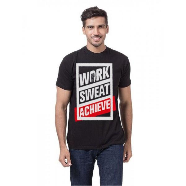 Black Colour Work Sweat Achieve Graphics T Shirt