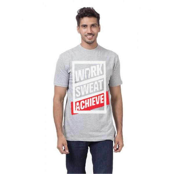 Work Sweat Achieve Graphics T shirt in Grey Colour