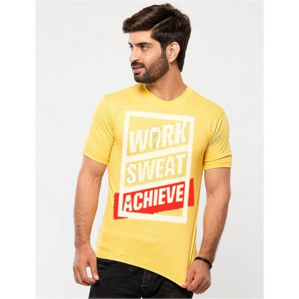 Light Yellow Work Sweat Achieve Graphics T shirt For Him
