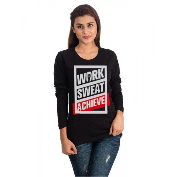 Black Work Sweat Achieve Graphics T shirt for Her