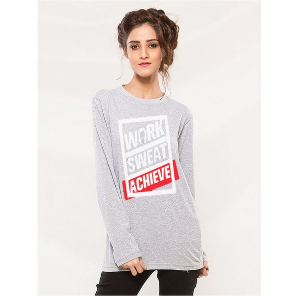 Heather Grey Work Sweat Achieve Graphics T shirt For Her