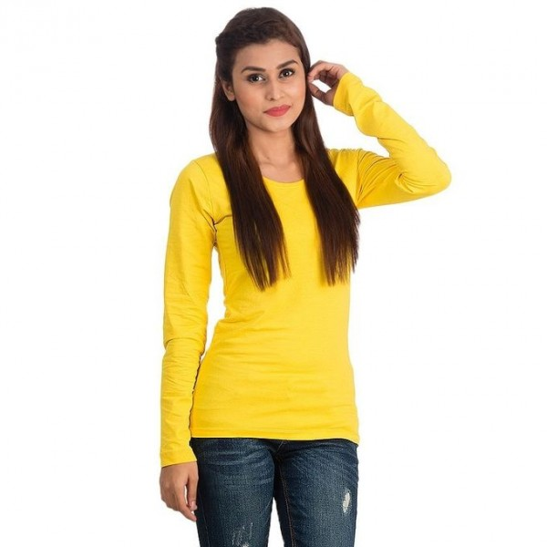 Yellow Round Neck Full Sleeves T shirt For her