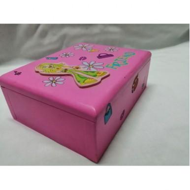 Cute Pink Wooden Jewelry Box - B-01