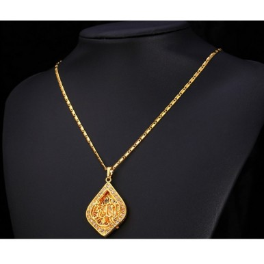 Allah Necklace Gold 18K platinum Plated Vintage Crystal Jewellery