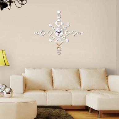 3D Acrylic Mirror Wall Clocks Modern Design Silver