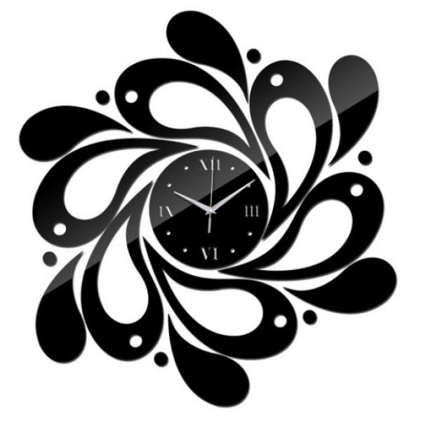 3D DIY Mirror Acrylic Wall Clock - Black