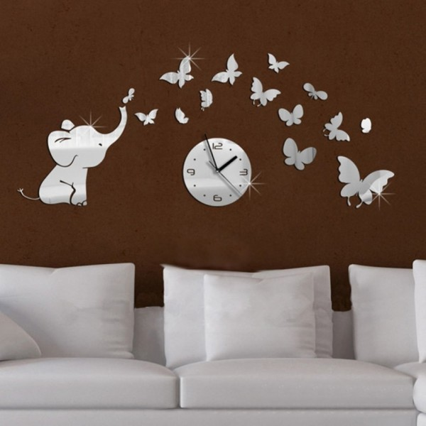 3D DIY Elephant Butterflies Mirror Wall Decal with Wall Clock