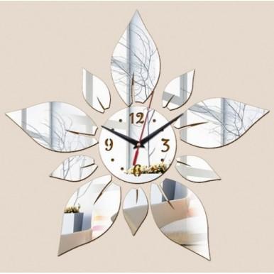 Petals Flower DIY Acrylic Mirror Wall Clocks - Silver