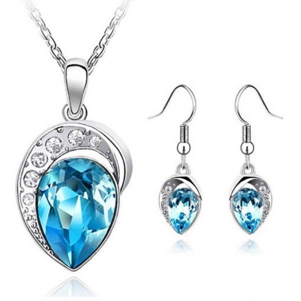 Blue Crystal Jewellery Set for Her