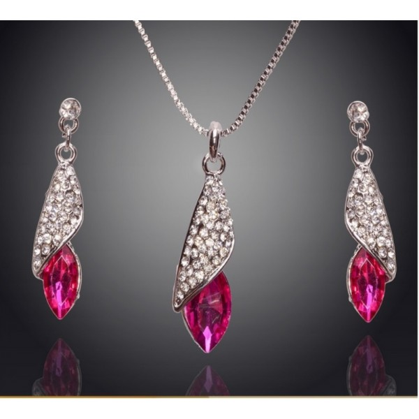 18K Silver Plated Crystal Jewellery set for Her