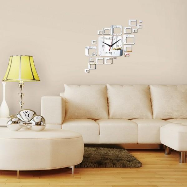 Square 3D Acrylic Silver Clock