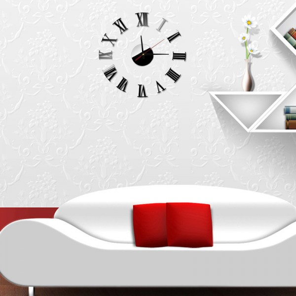 Luxury Rome Vogue DIY Self Adhesive Interior Wall Creative Decoration Clock