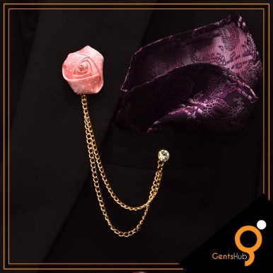Baby Pink Flower with White Dots Brooch With Golden Chains
