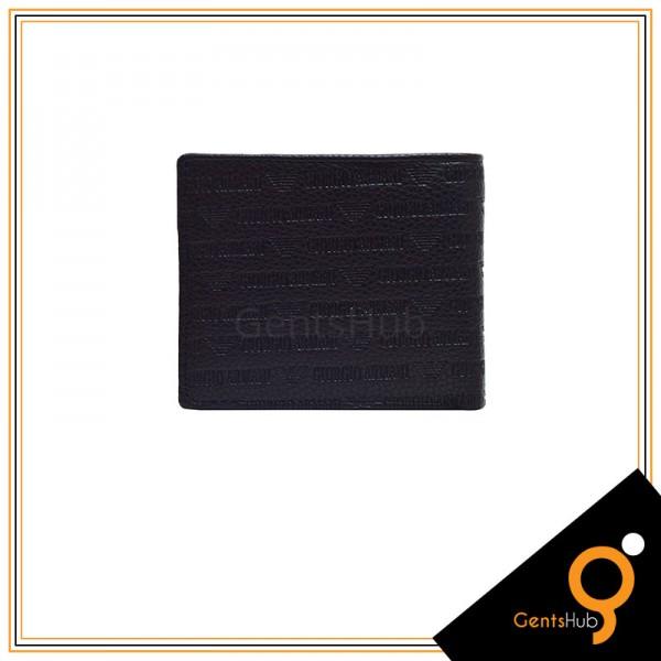 Black Armani Logo Texture Wallet for Men