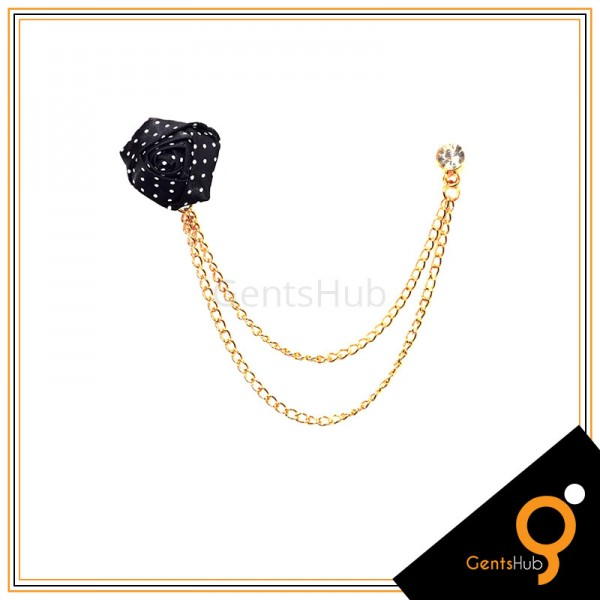 Black Flower with White Dots Brooch With Golden Chains