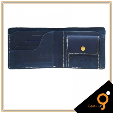 Blue Leather Wallet Bi-fold For Men