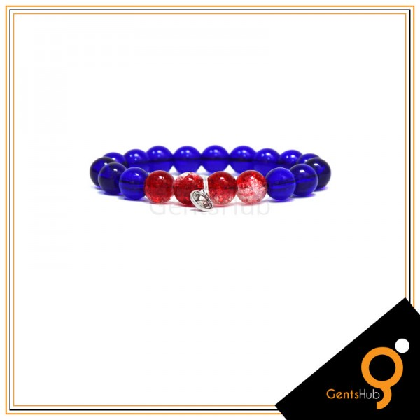 Blue with Red and White Crystal Beads with Metal Coin Bracelet