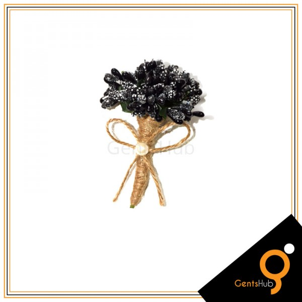 Boutonniere Black Flower Brooch Wrapped with String