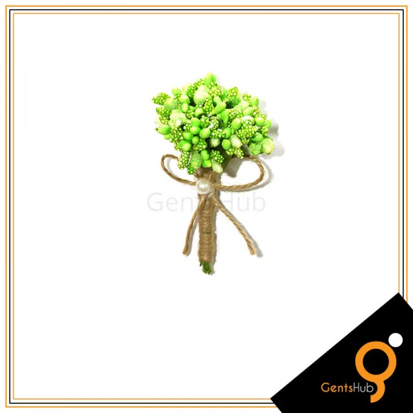 Boutonniere Green Flower Brooch Wrapped with String