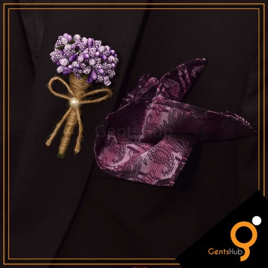 Boutonniere Purple Flower Brooch Wrapped with String