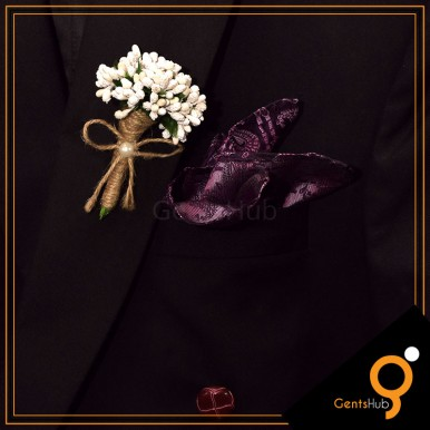 Boutonniere White Flower Brooch Wrapped with String