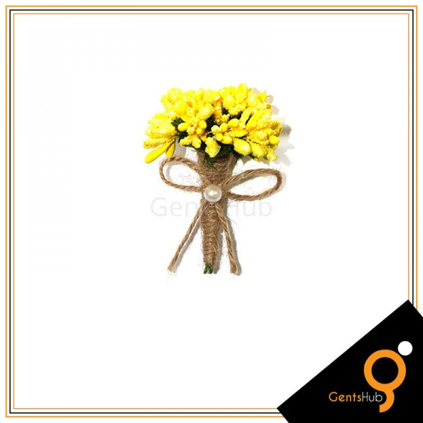 Boutonniere Yellow Flower Brooch Wrapped with String
