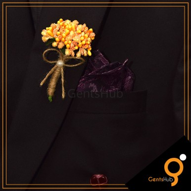 Boutonniere Yellow with Orange Flower Brooch Wrapped with String