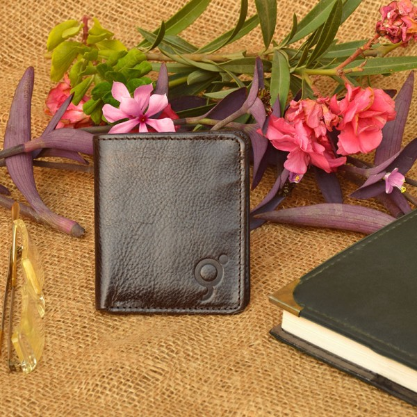 Brown Leather Card Holder with Wallet For Men