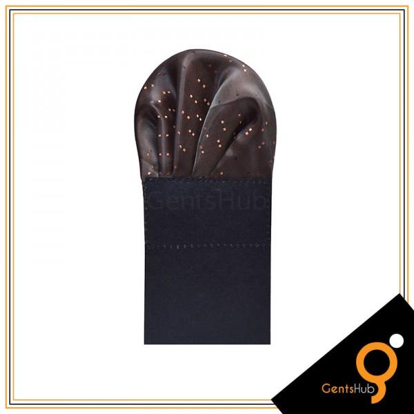 Brown with Orange Dot Style Silk Pocket Handkerchief for Men