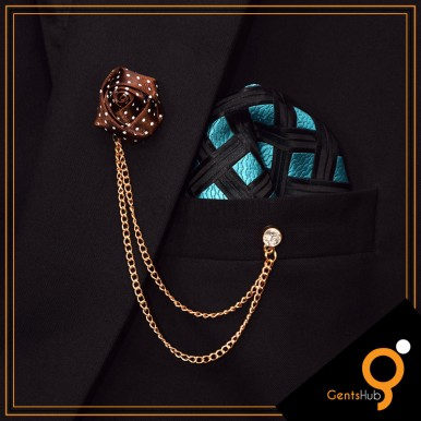 Brown Flower with White Dots Brooch With Golden Chains
