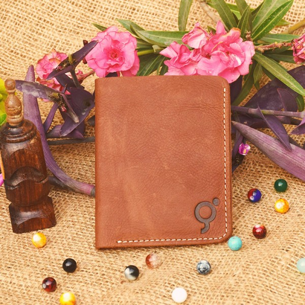 Brown Leather Wallet Book Style for Men