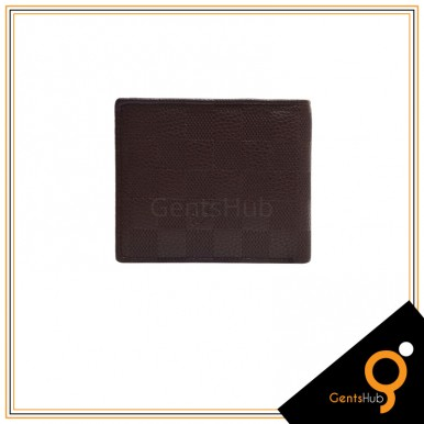 Brown Color Branded Style Checkered Wallet For Men