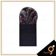 Brown with Brick Red Print Silk Pocket Handkerchief for Men