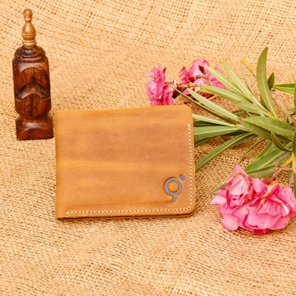 Camel Leather Wallet Bi-fold For Men