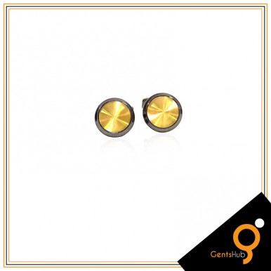 Cufflinks Blackish With Center Golden Acrylic for Men