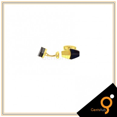 Cufflinks Golden With Half Black Polygon Shape for Men
