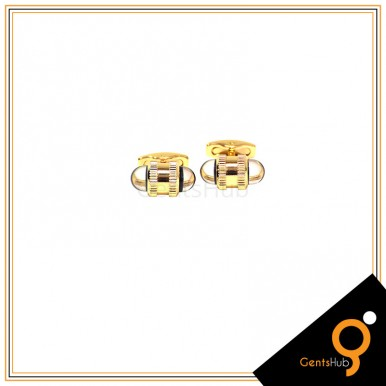 Cufflinks Capsule Style Golden with White Acrylic for Men