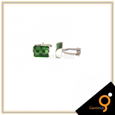 Cufflinks Green Checkered With Sterling Silver for Men