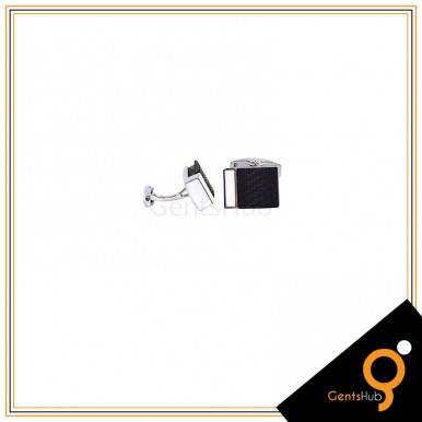 Cufflinks Matte Black Versace Style With Side White Bar For Men