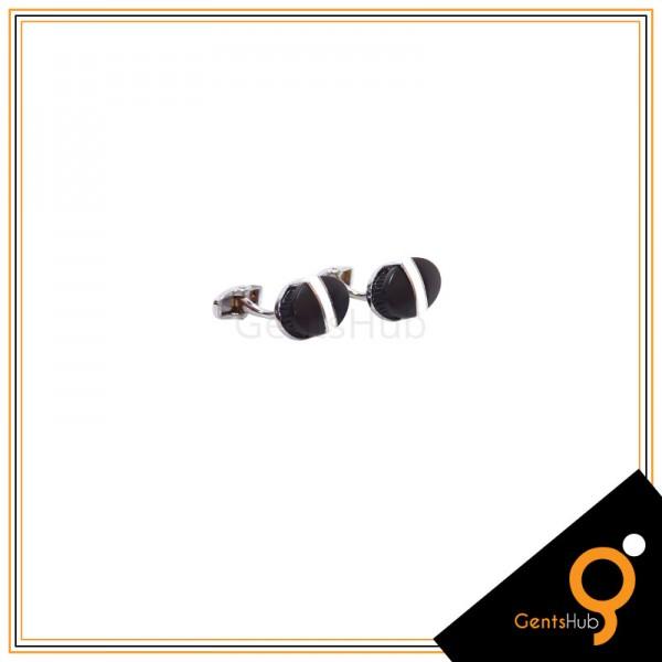 Cufflinks Matte Black With Center White Bar Ellipse Shape for Men