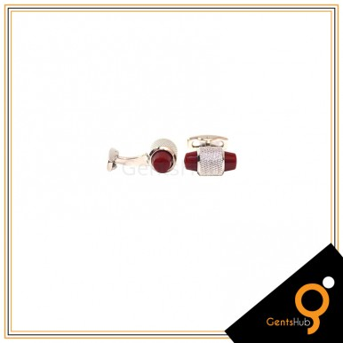 Cufflinks Capsule Style Silver with Maroon Acrylic for Men